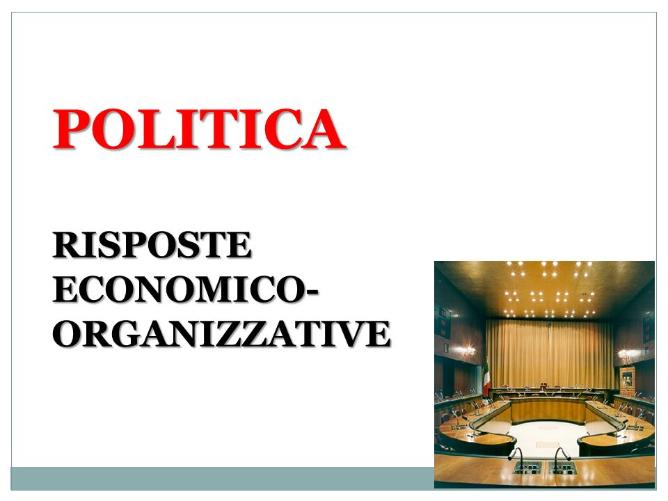POLITICA RISPOSTE ECONOMICO- ORGANIZZATIVE