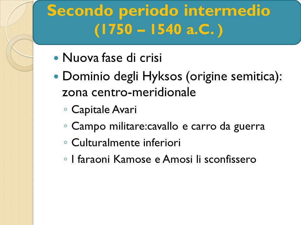 Secondo periodo intermedio (1750 – 1540 a.C. ) Nuova fase di crisi Dominio degli Hyksos (origine semitica): zona centro-meridionale Capitale Avari Cam