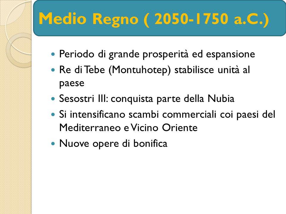 Periodo di grande prosperità ed espansione Re di Tebe (Montuhotep) stabilisce unità al paese Sesostri III: conquista parte della Nubia Si intensifican