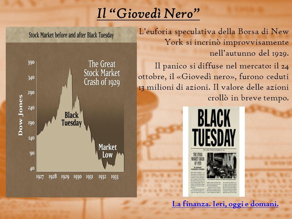 Il Giovedì Nero Leuforia speculativa della Borsa di New York si incrinò improvvisamente nellautunno del 1929.