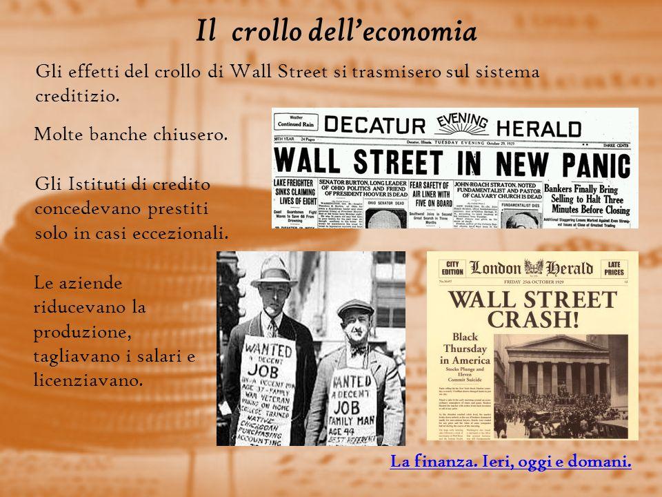 Il crollo delleconomia Gli effetti del crollo di Wall Street si trasmisero sul sistema creditizio.