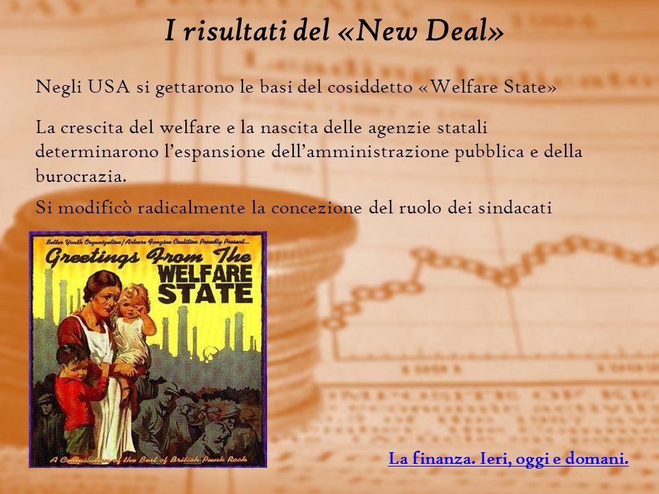 I risultati del «New Deal» Negli USA si gettarono le basi del cosiddetto «Welfare State» La crescita del welfare e la nascita delle agenzie statali determinarono lespansione dellamministrazione pubblica e della burocrazia.