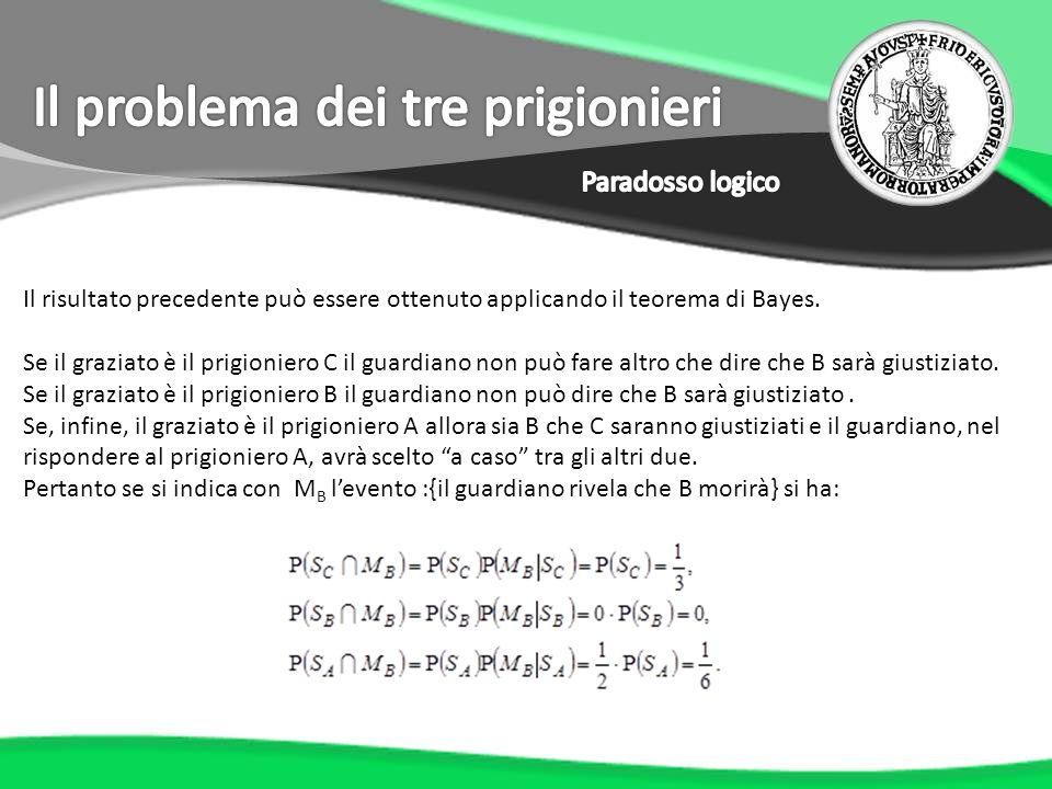 Il risultato precedente può essere ottenuto applicando il teorema di Bayes. Se il graziato è il prigioniero C il guardiano non può fare altro che dire