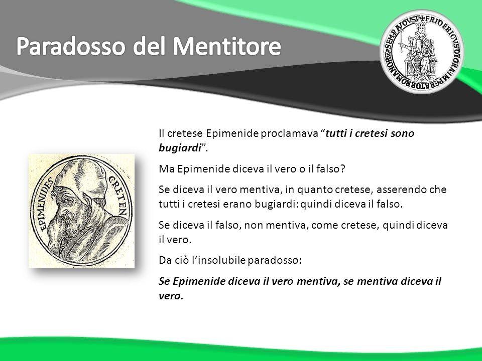 Il cretese Epimenide proclamava tutti i cretesi sono bugiardi. Ma Epimenide diceva il vero o il falso? Se diceva il vero mentiva, in quanto cretese, a