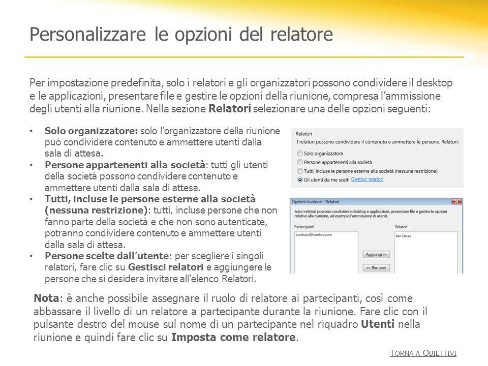 Personalizzare le opzioni del relatore Per impostazione predefinita, solo i relatori e gli organizzatori possono condividere il desktop e le applicazi