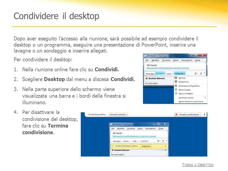 Condividere il desktop Per condividere il desktop: 1.Nella riunione online fare clic su Condividi. 2.Scegliere Desktop dal menu a discesa Condividi. 3
