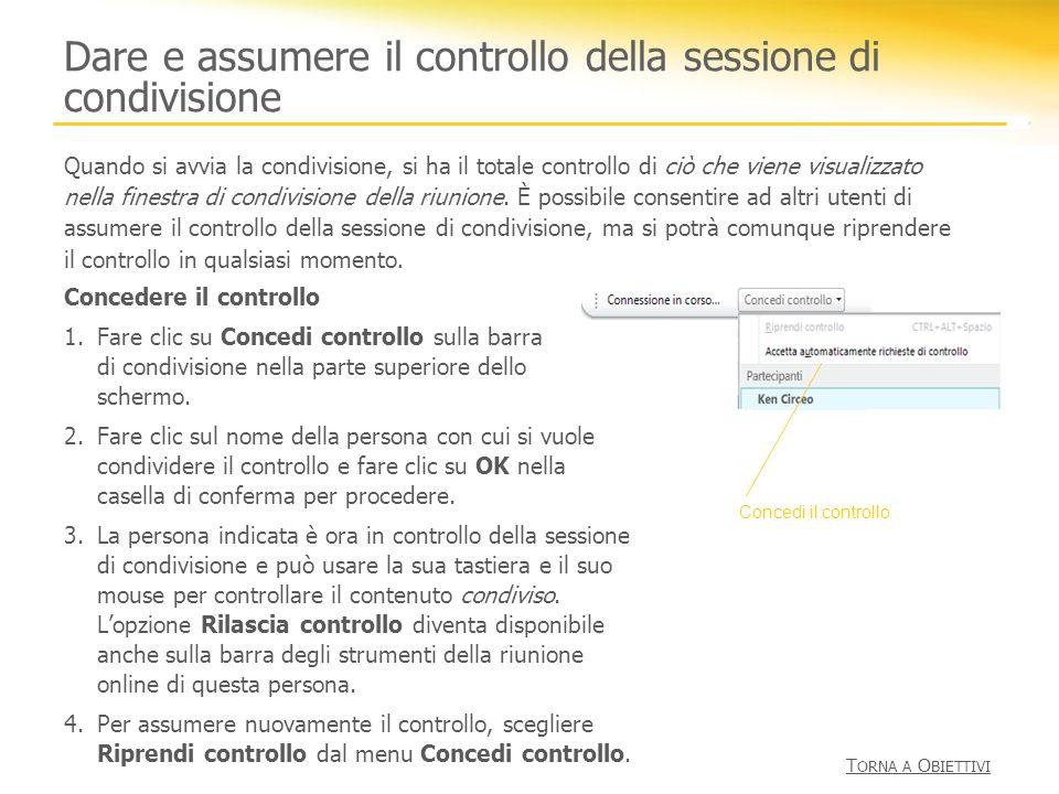 Dare e assumere il controllo della sessione di condivisione Concedere il controllo 1.Fare clic su Concedi controllo sulla barra di condivisione nella