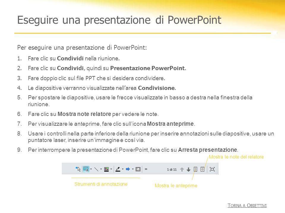 Eseguire una presentazione di PowerPoint Per eseguire una presentazione di PowerPoint: 1.Fare clic su Condividi nella riunione. 2.Fare clic su Condivi