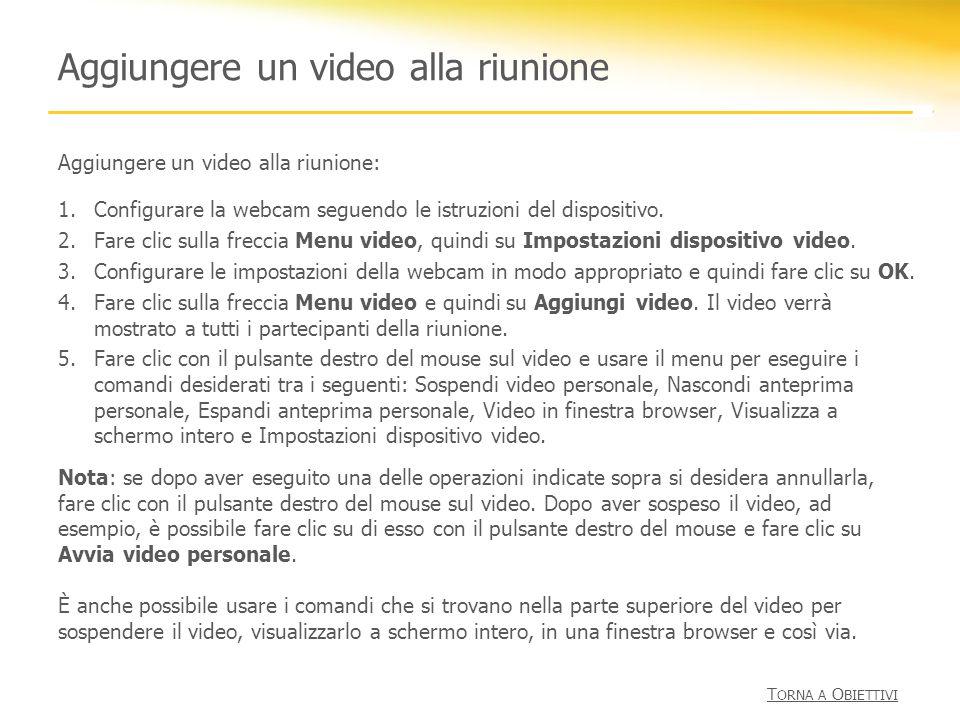 Aggiungere un video alla riunione Aggiungere un video alla riunione: 1.Configurare la webcam seguendo le istruzioni del dispositivo. 2.Fare clic sulla