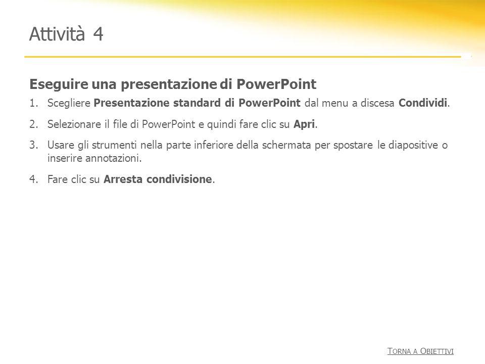 Eseguire una presentazione di PowerPoint Attività 4 1.Scegliere Presentazione standard di PowerPoint dal menu a discesa Condividi. 2.Selezionare il fi