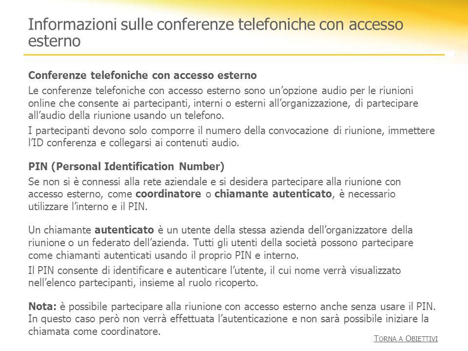 Informazioni sulle conferenze telefoniche con accesso esterno Conferenze telefoniche con accesso esterno Le conferenze telefoniche con accesso esterno
