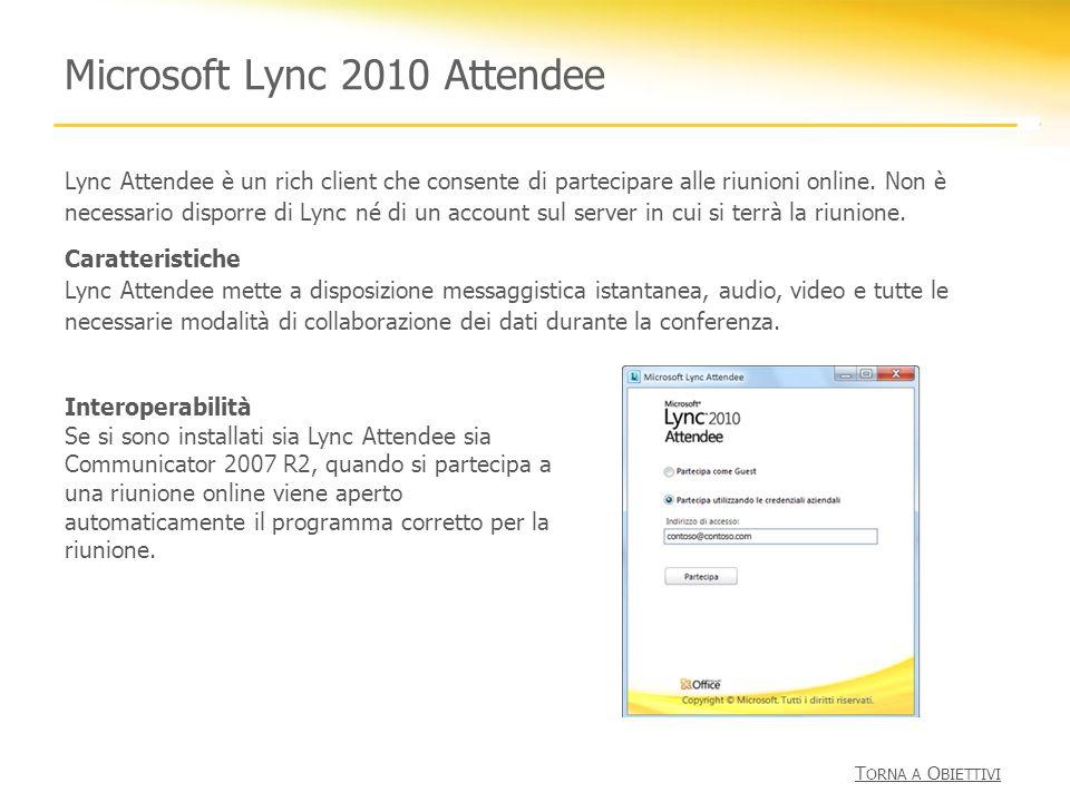 Microsoft Lync 2010 Attendee Lync Attendee è un rich client che consente di partecipare alle riunioni online. Non è necessario disporre di Lync né di