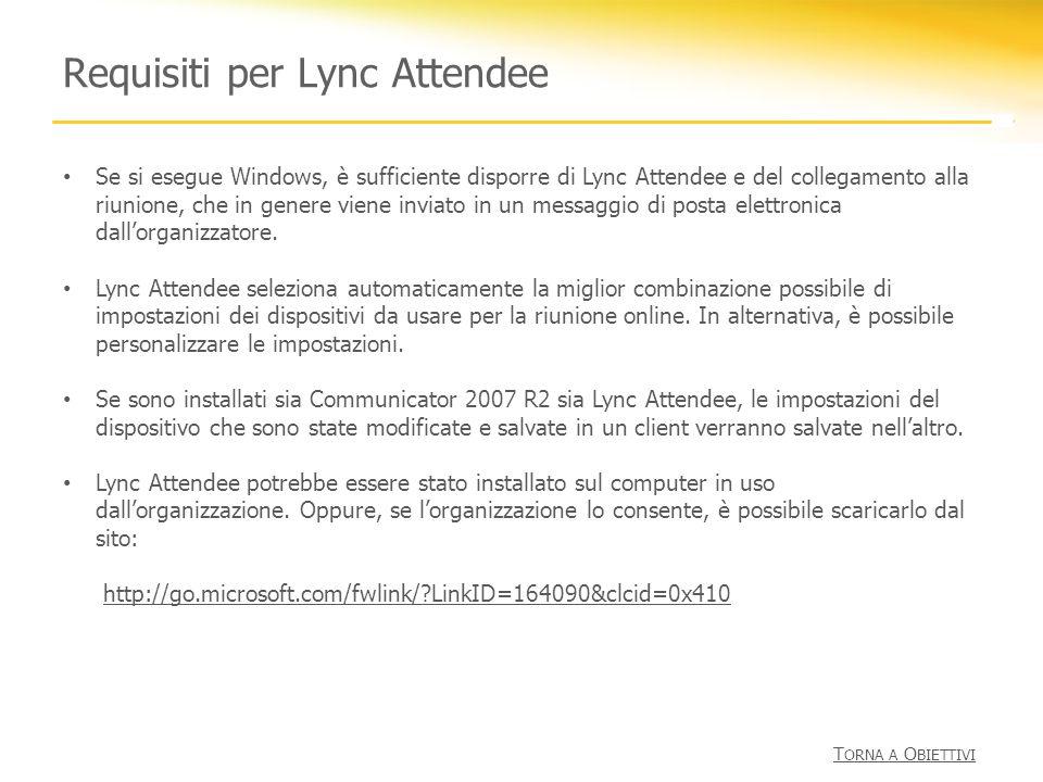 Requisiti per Lync Attendee Se si esegue Windows, è sufficiente disporre di Lync Attendee e del collegamento alla riunione, che in genere viene inviat