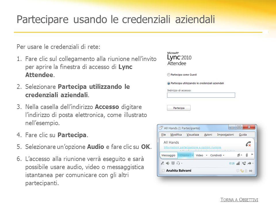 Partecipare usando le credenziali aziendali Per usare le credenziali di rete: 1.Fare clic sul collegamento alla riunione nellinvito per aprire la fine