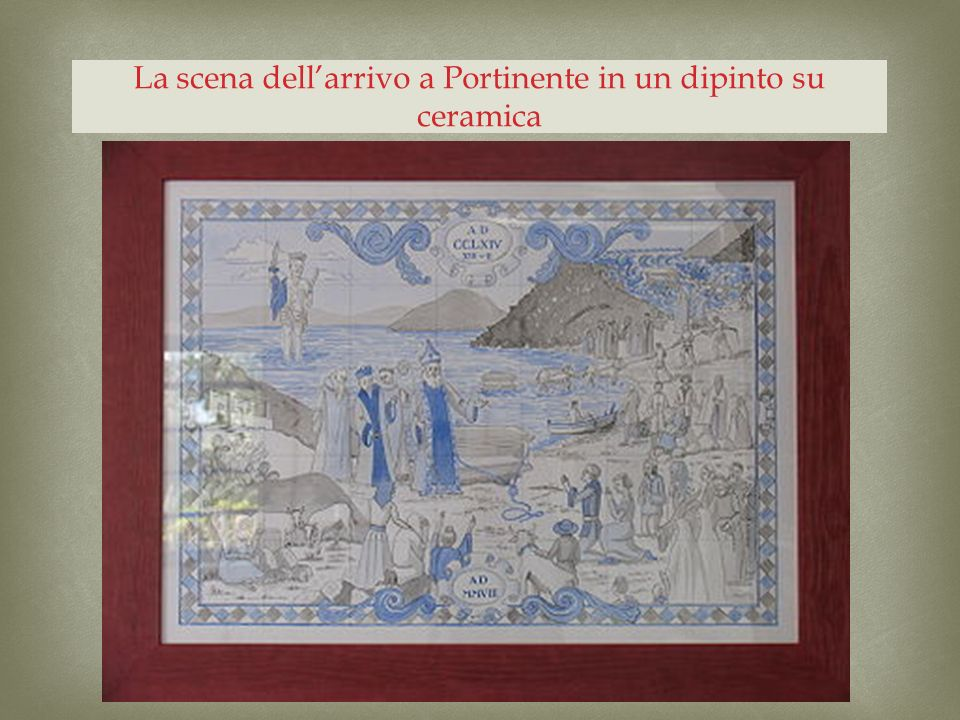 La scena dellarrivo a Portinente in un dipinto su ceramica
