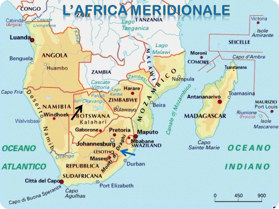 Questa è la punta meridionale del continente che arriva fino a capo Agulhas (34°51)dove lOceano Atlantico e Indiano si congiungono.LAfrica Meridionale comprende anche alcune isole e arcipelaghi dellOceano Indiano: il Madagascar,quarta isola mondiale come dimensioni Gli Arcipelaghi di Comore e Maurizio