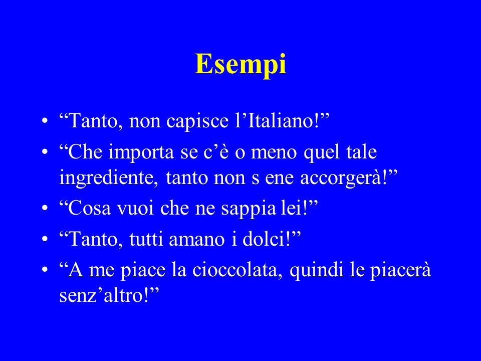 Esempi Tanto, non capisce lItaliano.