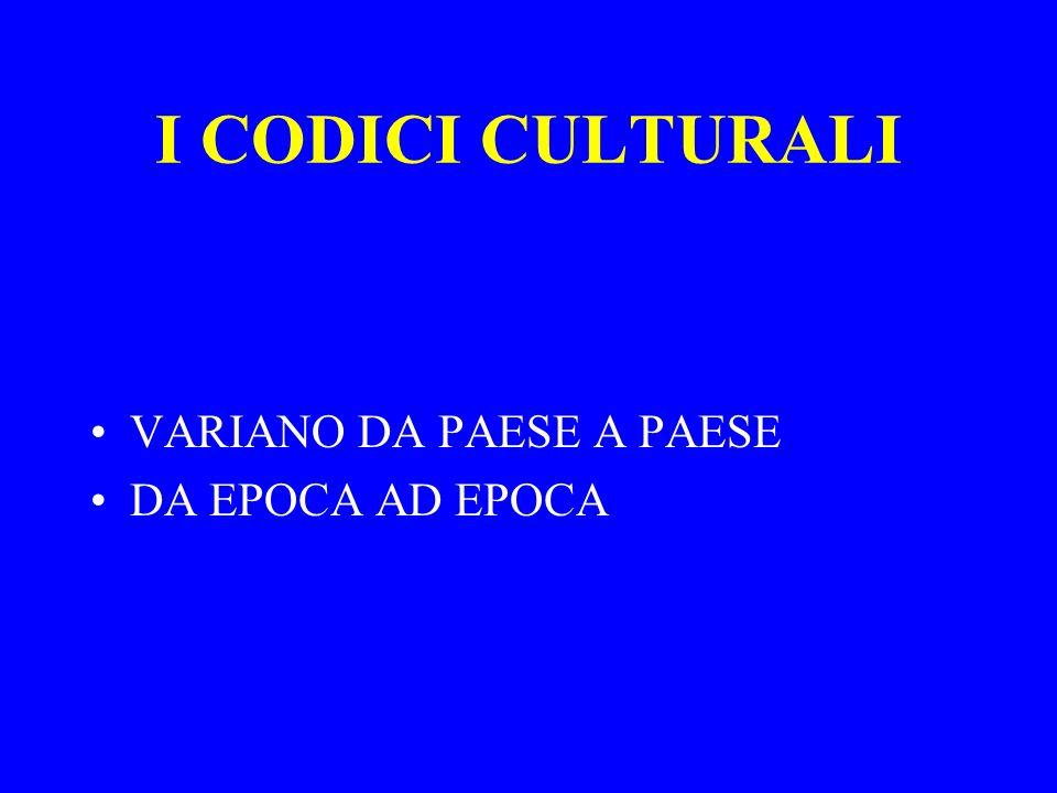 I CODICI CULTURALI VARIANO DA PAESE A PAESE DA EPOCA AD EPOCA