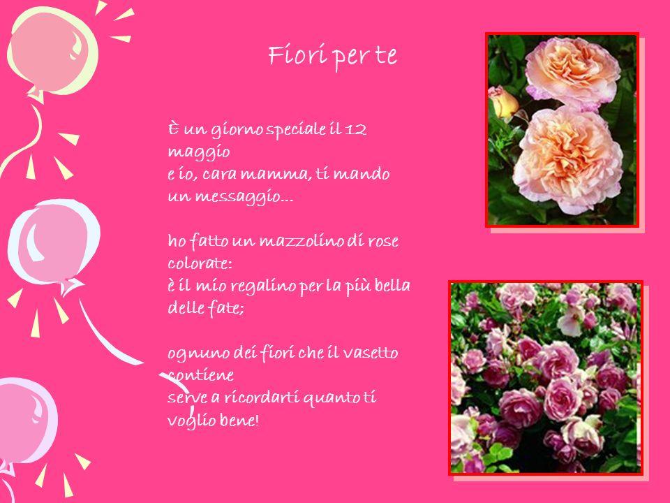 È un giorno speciale il 12 maggio e io, cara mamma, ti mando un messaggio... ho fatto un mazzolino di rose colorate: è il mio regalino per la più bell