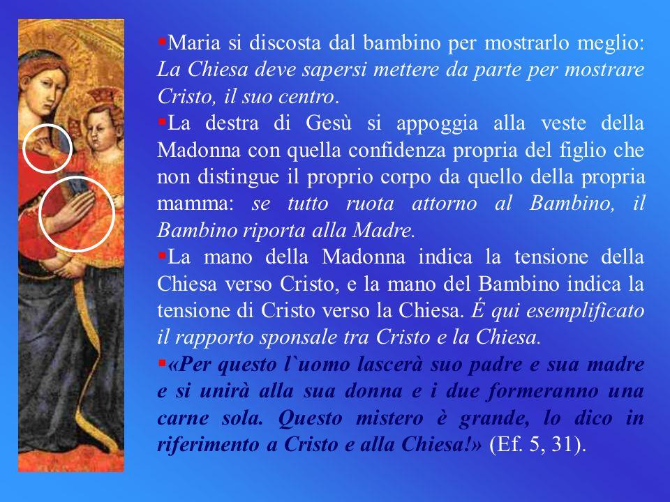 Maria si discosta dal bambino per mostrarlo meglio: La Chiesa deve sapersi mettere da parte per mostrare Cristo, il suo centro. La destra di Gesù si a