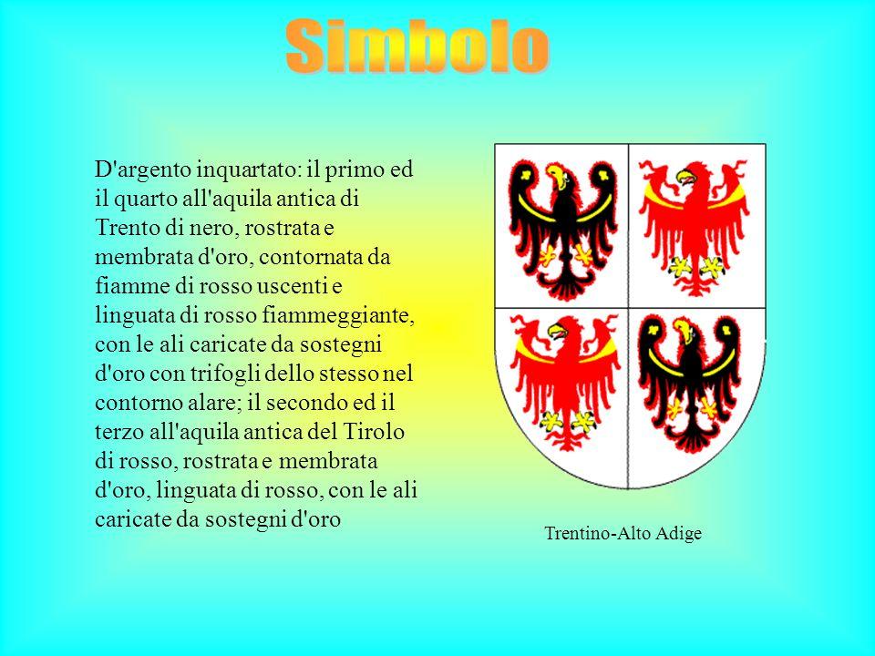 Trentino-Alto Adige D'argento inquartato: il primo ed il quarto all'aquila antica di Trento di nero, rostrata e membrata d'oro, contornata da fiamme d
