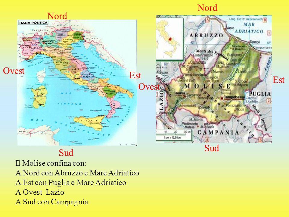 Nord Sud Ovest Est Il Molise confina con: A Nord con Abruzzo e Mare Adriatico A Est con Puglia e Mare Adriatico A Ovest Lazio A Sud con Campagnia