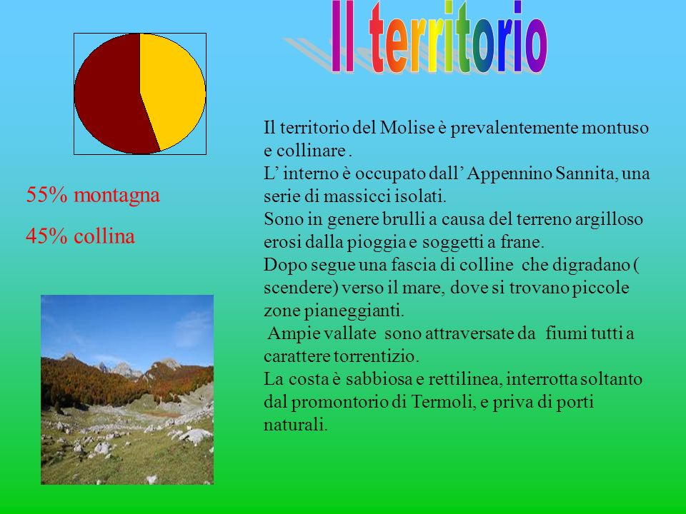 Il territorio del Molise è prevalentemente montuso e collinare. L interno è occupato dall Appennino Sannita, una serie di massicci isolati. Sono in ge