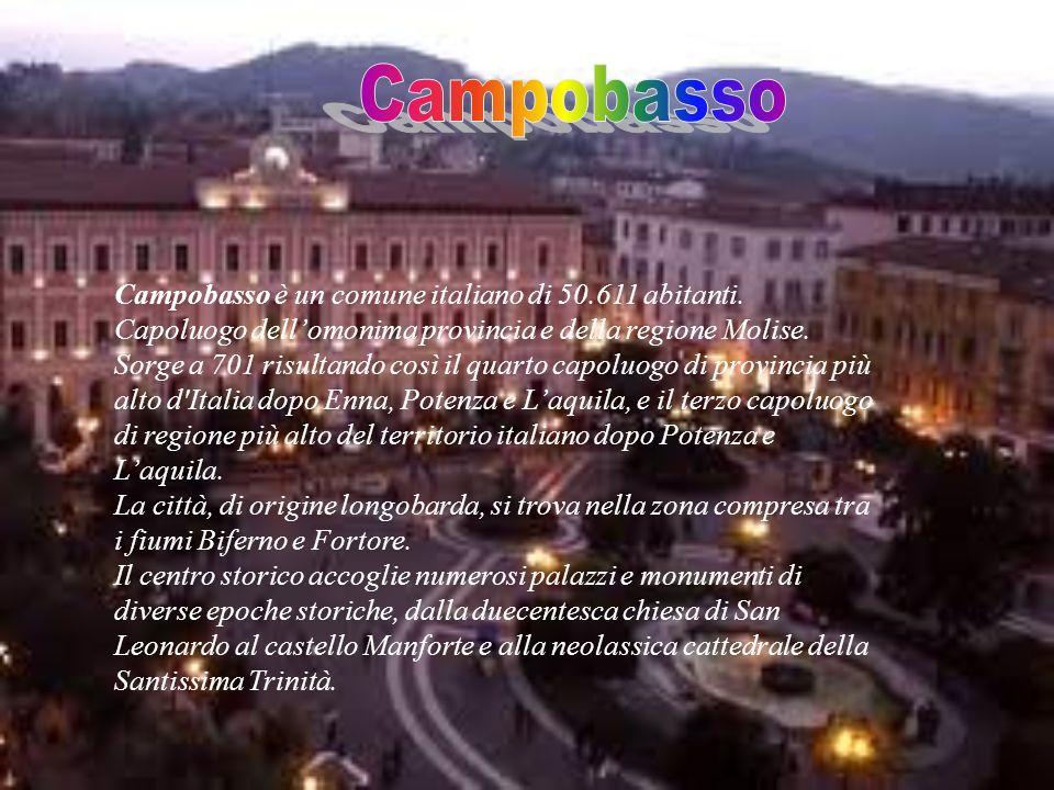 Campobasso è un comune italiano di 50.611 abitanti. Capoluogo dellomonima provincia e della regione Molise. Sorge a 701 risultando così il quarto capo