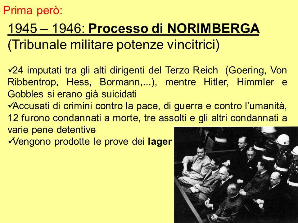 1945 – 1946: Processo di NORIMBERGA (Tribunale militare potenze vincitrici) 24 imputati tra gli alti dirigenti del Terzo Reich (Goering, Von Ribbentrop, Hess, Bormann,...), mentre Hitler, Himmler e Gobbles si erano già suicidati Accusati di crimini contro la pace, di guerra e contro lumanità, 12 furono condannati a morte, tre assolti e gli altri condannati a varie pene detentive Vengono prodotte le prove dei lager