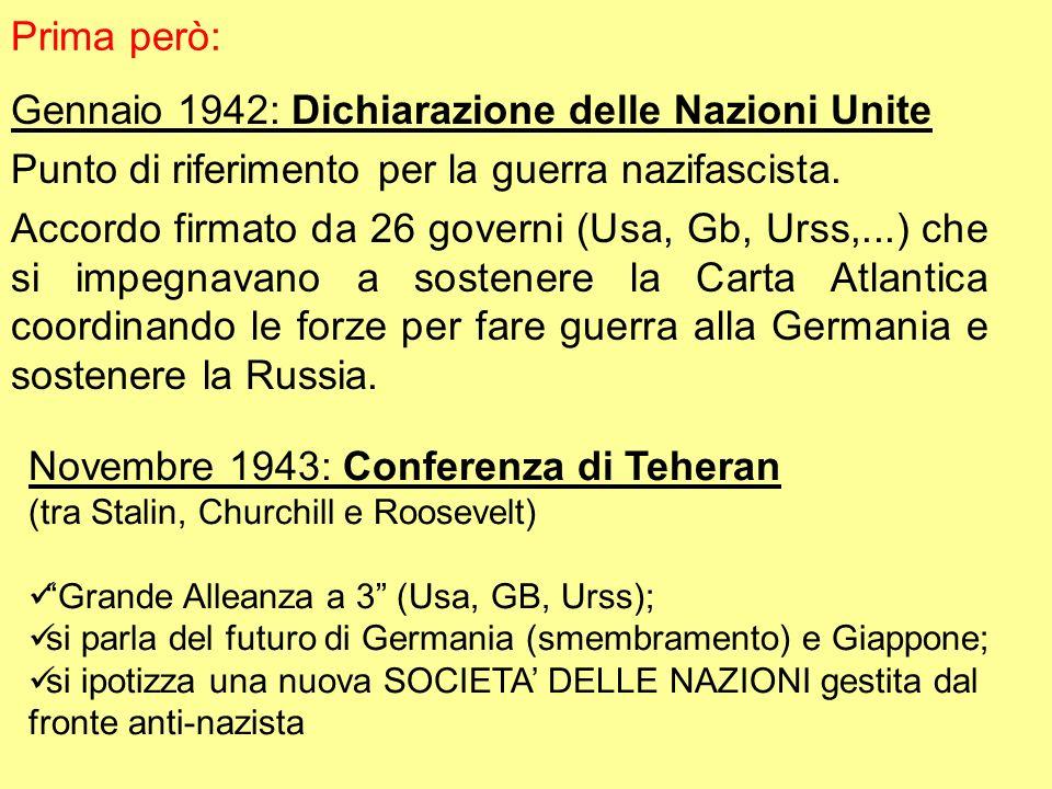 Prima però: Gennaio 1942: Dichiarazione delle Nazioni Unite Punto di riferimento per la guerra nazifascista. Accordo firmato da 26 governi (Usa, Gb, U