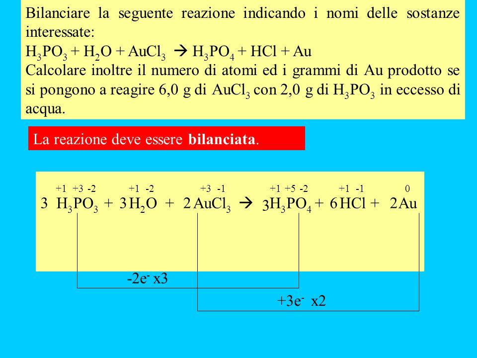 Bilanciare la seguente reazione indicando i nomi delle sostanze interessate: H 3 PO 3 + H 2 O + AuCl 3 H 3 PO 4 + HCl + Au Calcolare inoltre il numero di atomi ed i grammi di Au prodotto se si pongono a reagire 6,0 g di AuCl 3 con 2,0 g di H 3 PO 3 in eccesso di acqua.