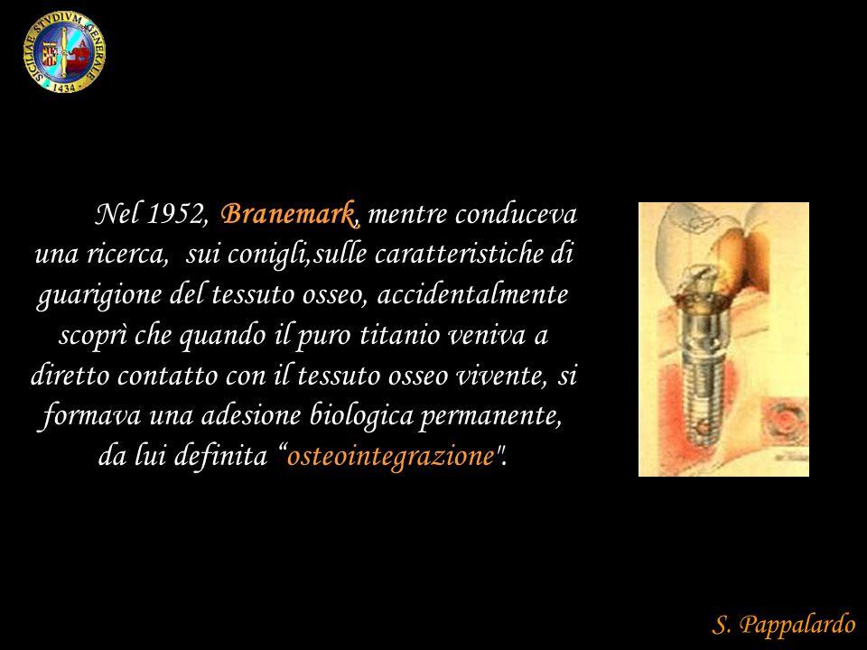 Nel 1952, Branemark, mentre conduceva una ricerca, sui conigli,sulle caratteristiche di guarigione del tessuto osseo, accidentalmente scoprì che quand