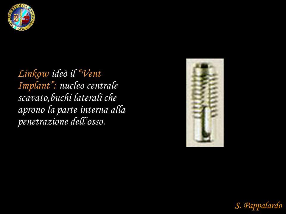 Linkow ideò il Vent Implant: nucleo centrale scavato,buchi laterali che aprono la parte interna alla penetrazione dellosso. S. Pappalardo