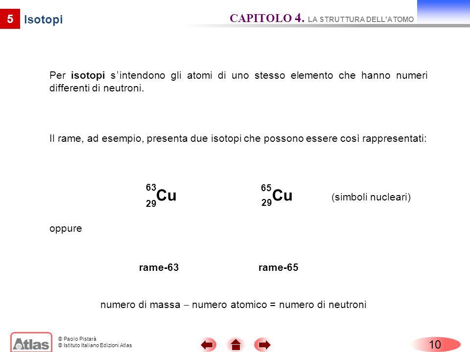 © Paolo Pistarà © Istituto Italiano Edizioni Atlas Per isotopi sintendono gli atomi di uno stesso elemento che hanno numeri differenti di neutroni. 10