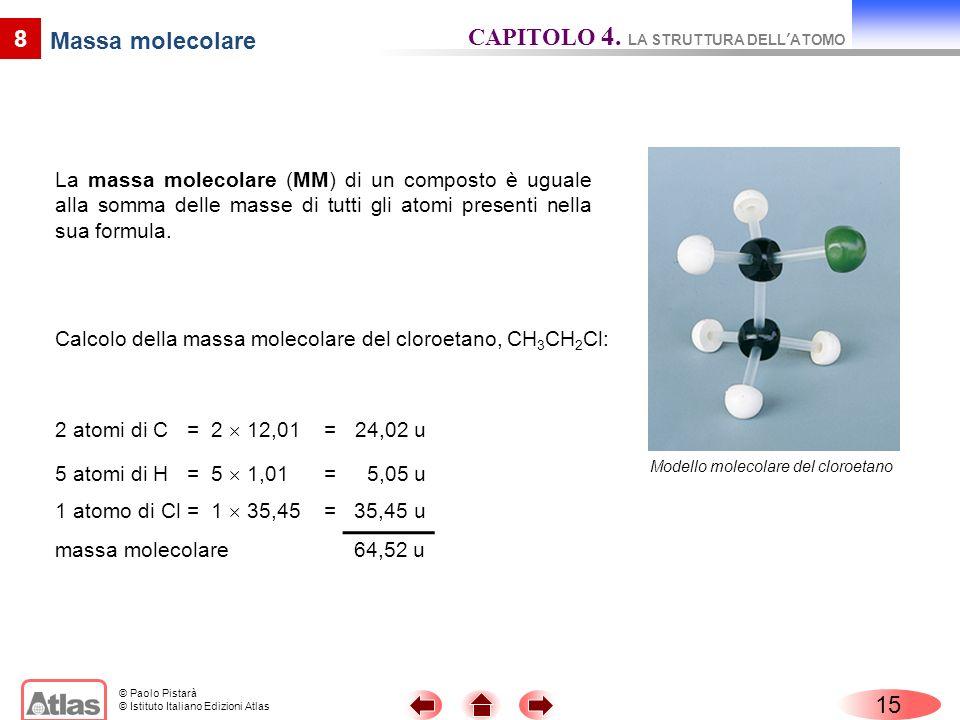 © Paolo Pistarà © Istituto Italiano Edizioni Atlas La massa molecolare (MM) di un composto è uguale alla somma delle masse di tutti gli atomi presenti nella sua formula.