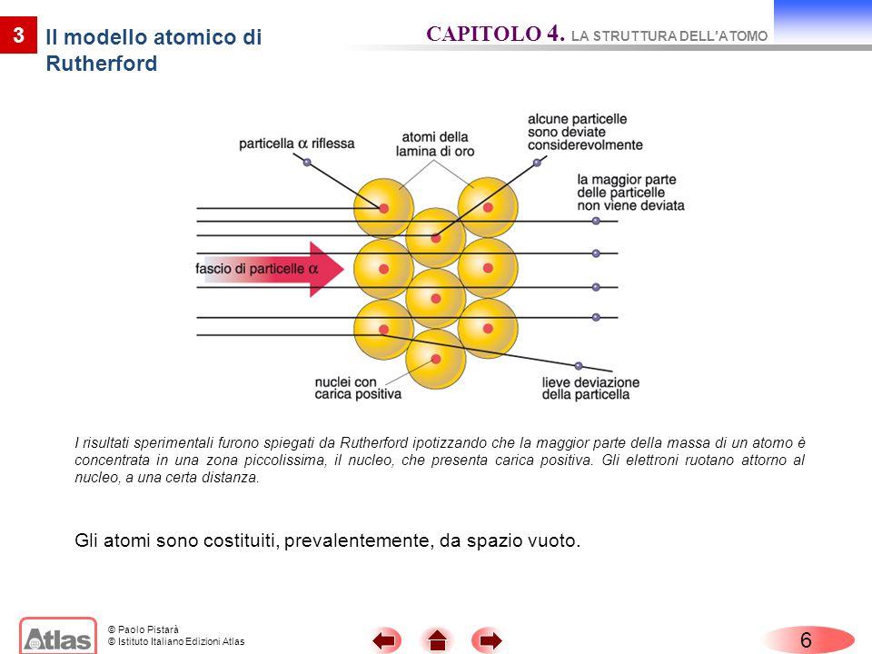 © Paolo Pistarà © Istituto Italiano Edizioni Atlas 6 3 Il modello atomico di Rutherford Gli atomi sono costituiti, prevalentemente, da spazio vuoto. C