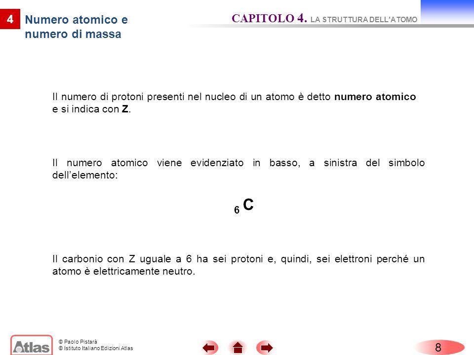 © Paolo Pistarà © Istituto Italiano Edizioni Atlas Il numero di protoni presenti nel nucleo di un atomo è detto numero atomico e si indica con Z. 8 4