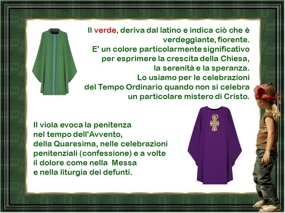 Il rosso evoca il sangue di Cristo versato sulla Croce nella celebrazione della Passione (domenica delle Palme), del Venerdì santo e nella festa dell'