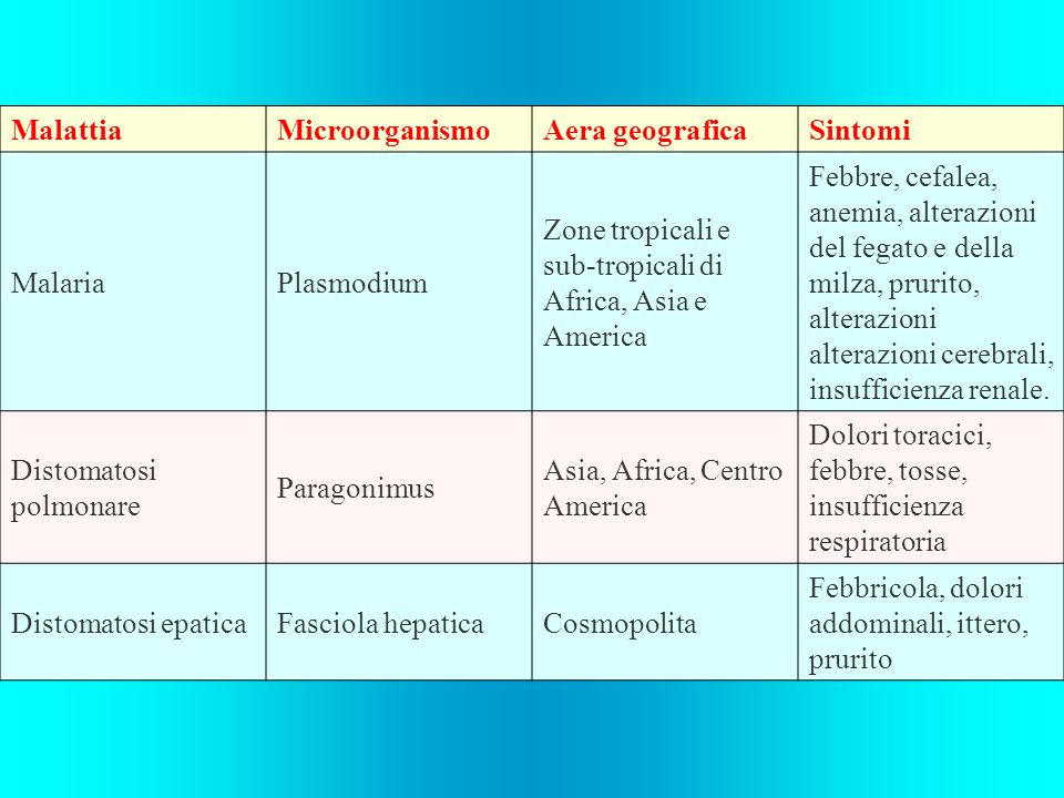 MalattiaMicroorganismoAera geograficaSintomi MalariaPlasmodium Zone tropicali e sub-tropicali di Africa, Asia e America Febbre, cefalea, anemia, alter