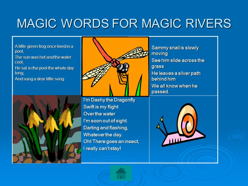 MAGIC WORDS FOR MAGIC RIVERS A little green frog once lived in a pool, The sun was hot and the water cool, He sat in the pool the whole day long, And
