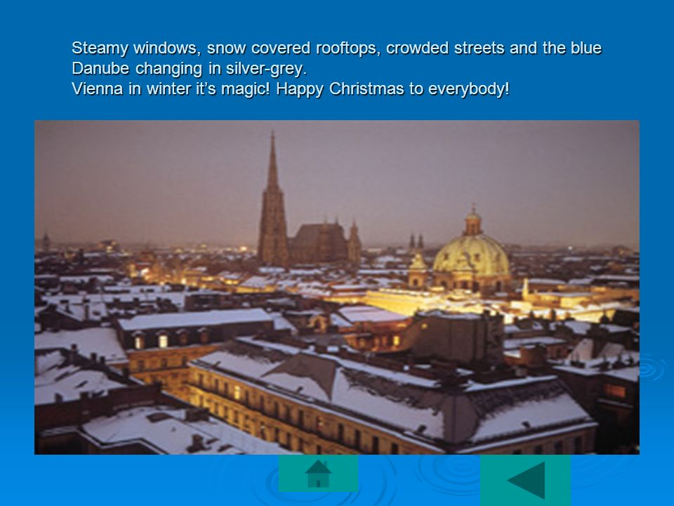 Steamy windows, snow covered rooftops, crowded streets and the blue Danube changing in silver-grey. Vienna in winter its magic! Happy Christmas to eve