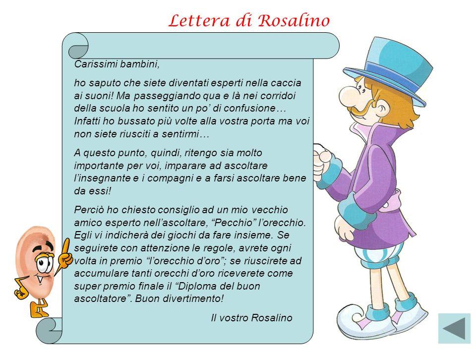 Lettera di Rosalino Carissimi bambini, ho saputo che siete diventati esperti nella caccia ai suoni! Ma passeggiando qua e là nei corridoi della scuola