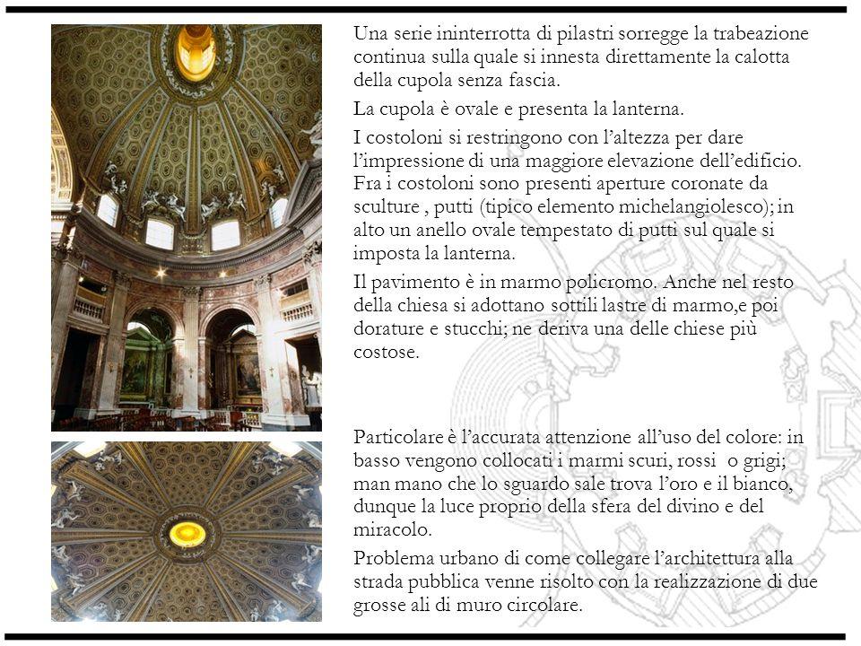 Analisi della pianta Evidente è luso di due figure geometriche: lellisse dellimpianto generale, che si ripercuote nella forma della scalinata, dellabside e delle cappelle; e il cerchio che ritroviamo in alcuni elementi quali i pilastri e le due grandi ali di muro antistanti la chiesa.