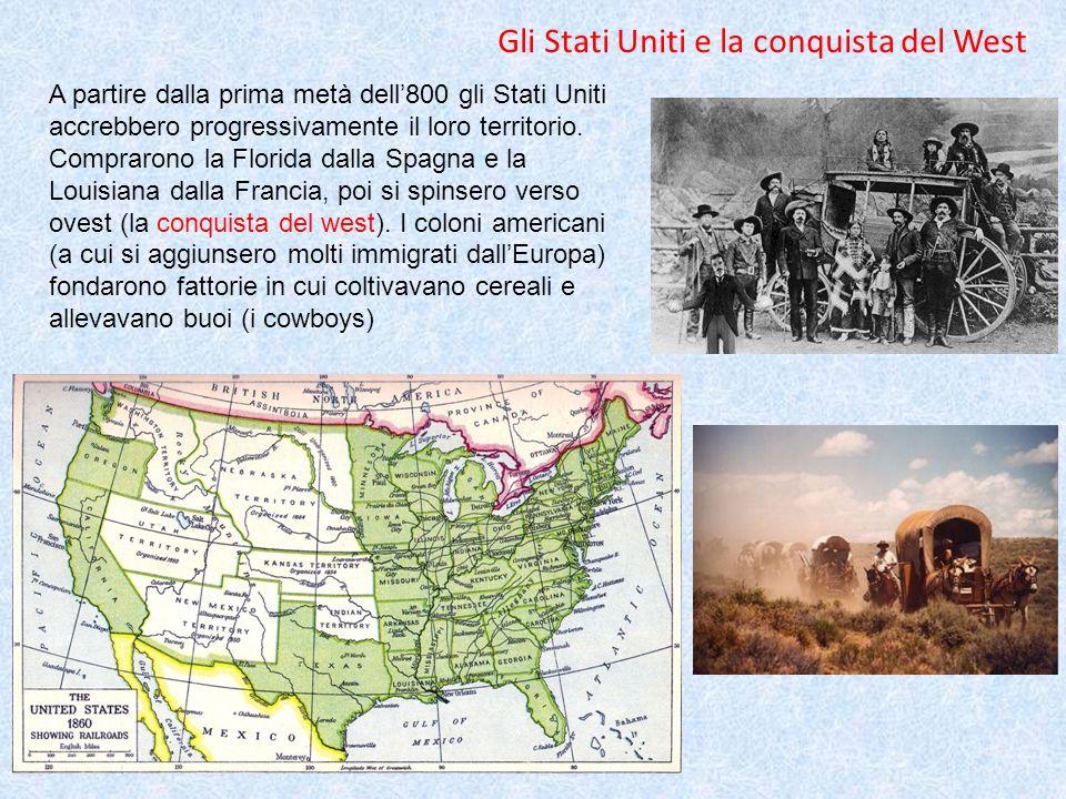 A partire dalla prima metà dell800 gli Stati Uniti accrebbero progressivamente il loro territorio. Comprarono la Florida dalla Spagna e la Louisiana d