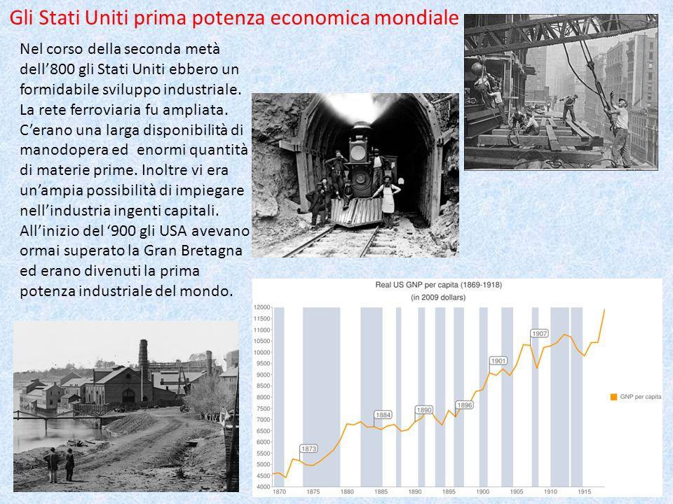 Nel corso della seconda metà dell800 gli Stati Uniti ebbero un formidabile sviluppo industriale. La rete ferroviaria fu ampliata. Cerano una larga dis