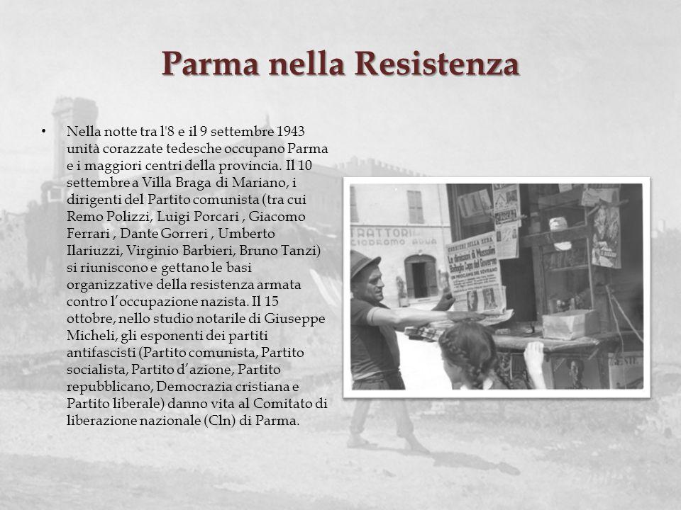 Parma nella Resistenza Nella notte tra l'8 e il 9 settembre 1943 unità corazzate tedesche occupano Parma e i maggiori centri della provincia. Il 10 se