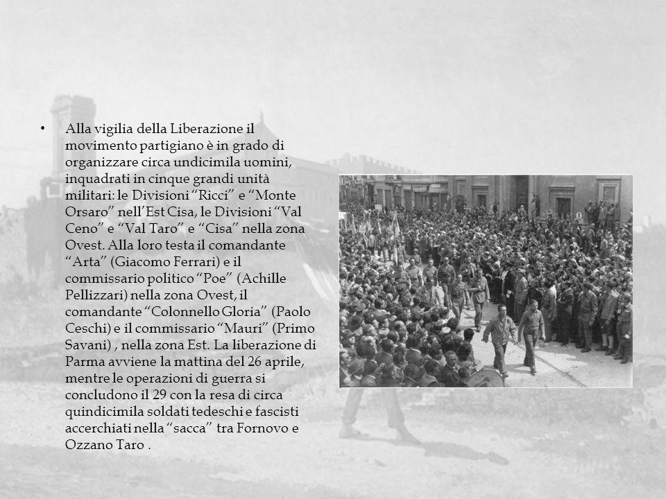 Alla vigilia della Liberazione il movimento partigiano è in grado di organizzare circa undicimila uomini, inquadrati in cinque grandi unità militari: