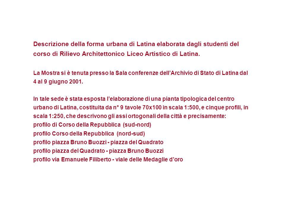 Descrizione della forma urbana di Latina elaborata dagli studenti del corso di Rilievo Architettonico Liceo Artistico di Latina.