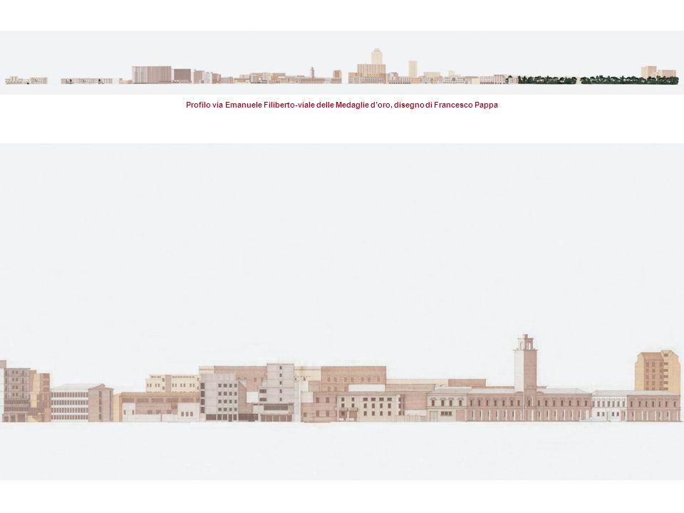 Profilo via Emanuele Filiberto-viale delle Medaglie doro, disegno di Francesco Pappa