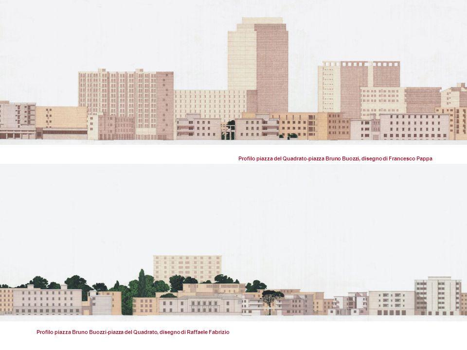 Profilo piazza Bruno Buozzi-piazza del Quadrato, disegno di Raffaele Fabrizio Profilo piazza del Quadrato-piazza Bruno Buozzi, disegno di Francesco Pappa